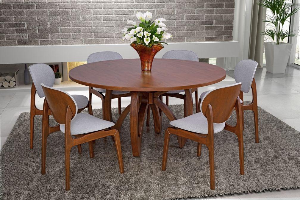 Conjunto Mesa de Jantar Zurique Redonda (160cm) Tampo de Madeira -  6 Cadeiras Atenas - Castanho