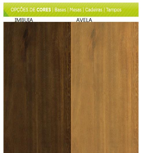 Conjunto Mesa de Jantar Aline Retangular (120cm) Tampo Madeira - 4 Cadeiras Betina - Avelã
