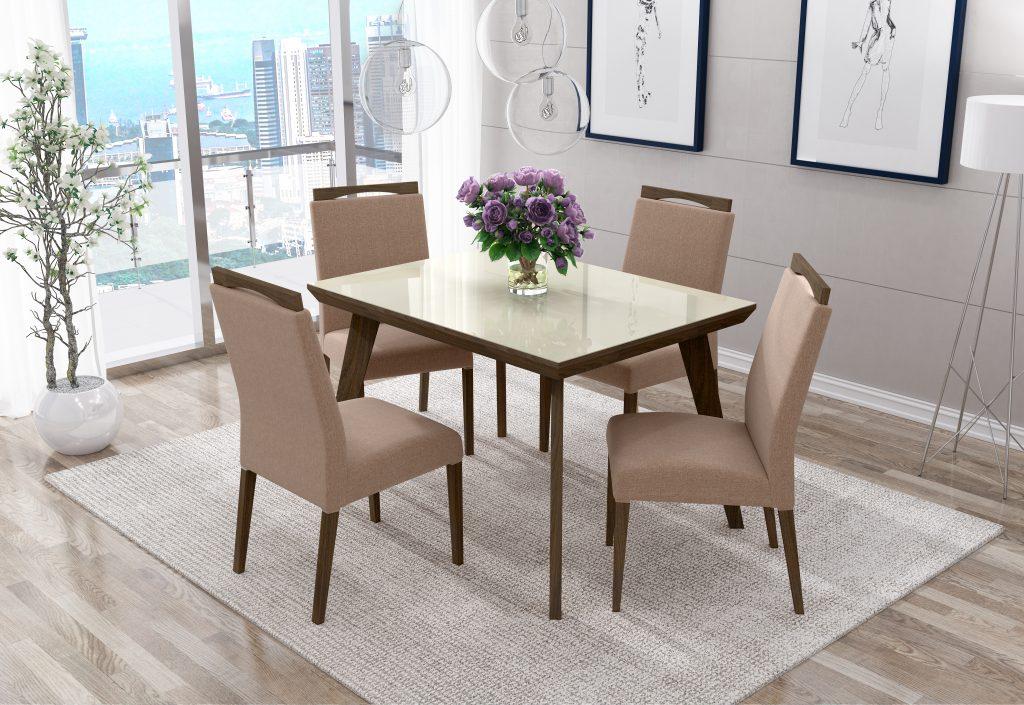 Conjunto Mesa de Jantar Aline Retangular (120cm) Tampo Vidro - 4 Cadeiras Betina - Imbuia