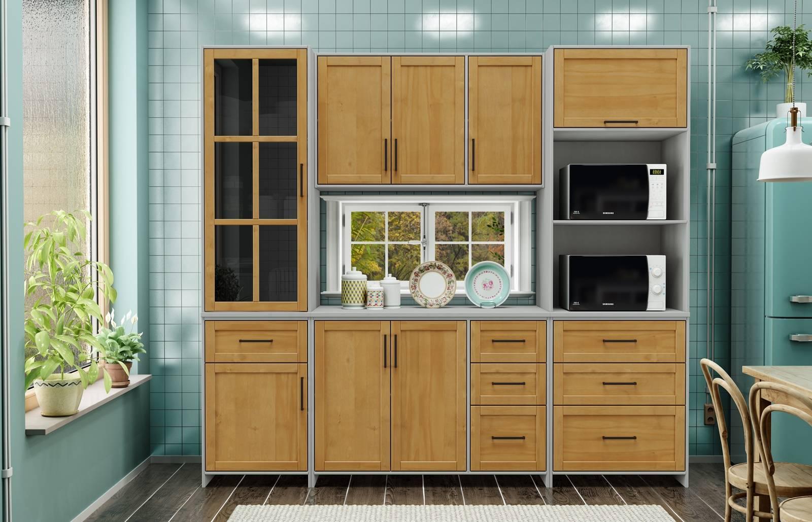Cozinha Compacta Cristal com 5 Módulos - Madeira Maciça -  Cinza/Carvalho