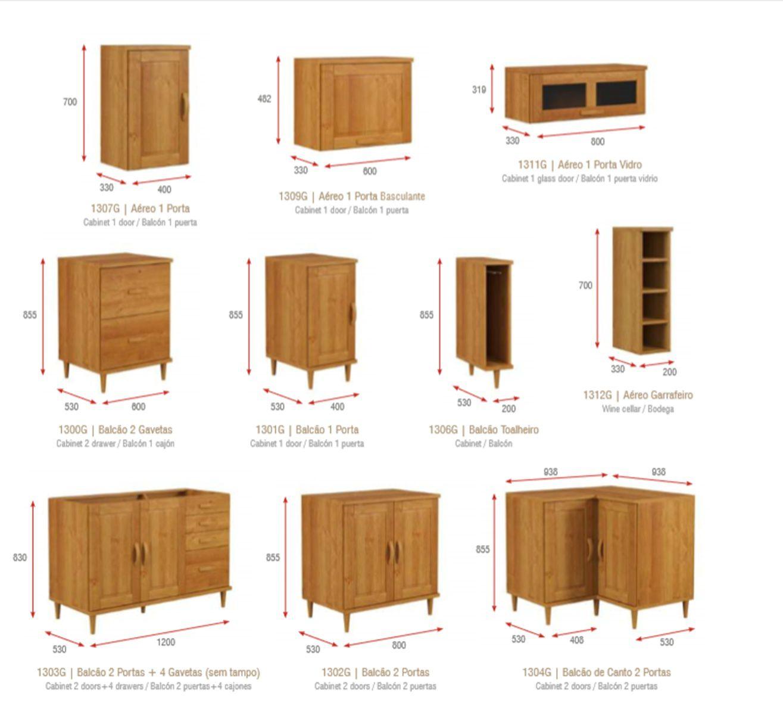 Cozinha Compacta Jade com 15 Módulos - Madeira Maciça -  Cor Nogueira