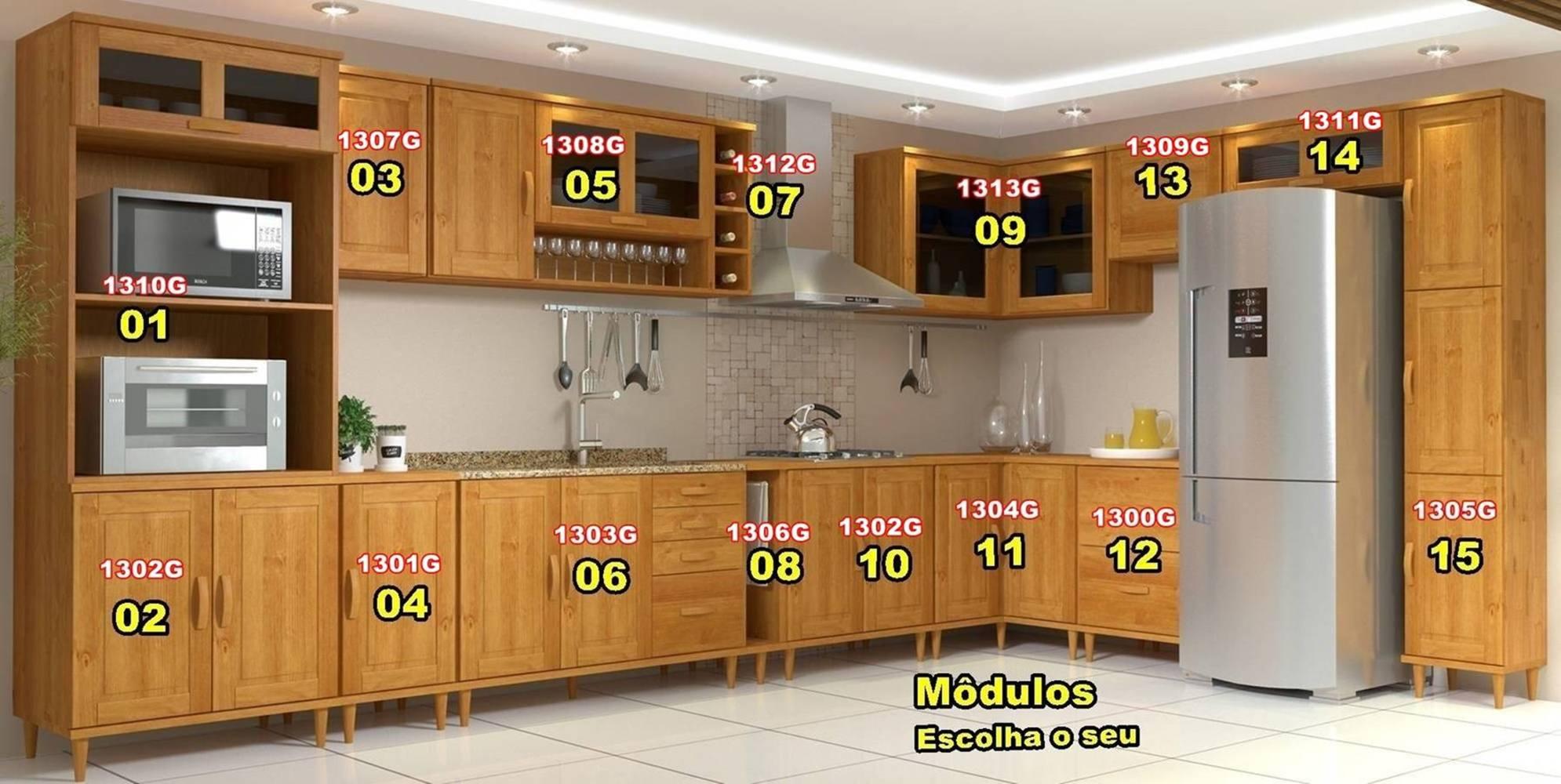 Cozinha Compacta Jade - 8 Módulos - Madeira Maciça - Cor Nogueira
