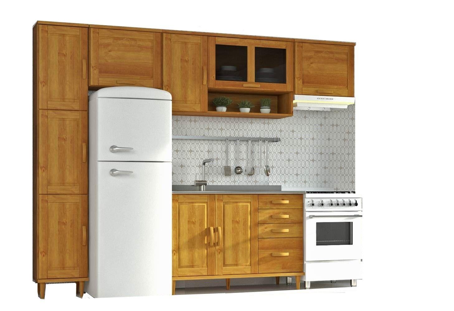 Cozinha Compacta Jade com 5 Modulos em Madeira Maciça - Cor Nogueira