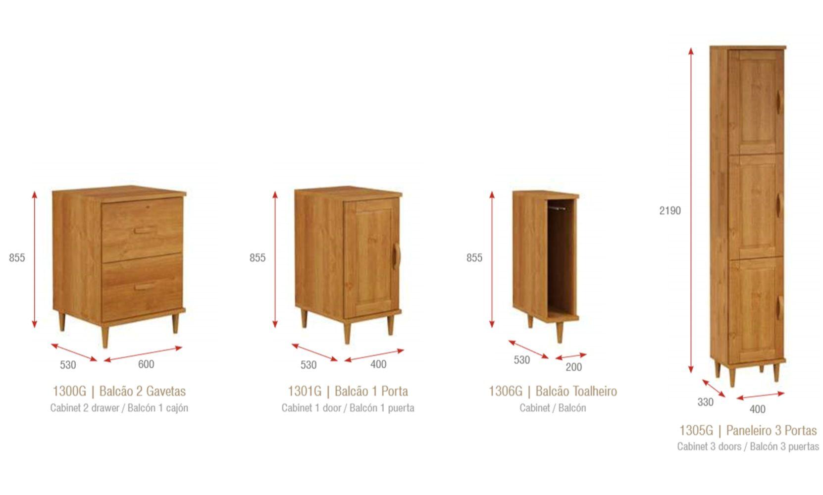Cozinha Compacta Jade - Madeira Maciça - 15 Módulos - Cor Nogueira