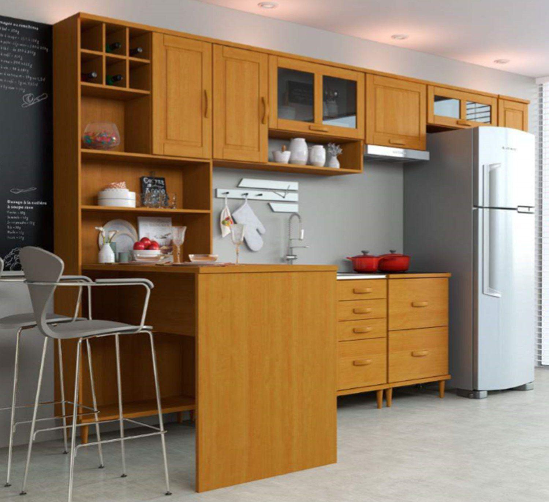 Cozinha Compacta Jade - Madeira Maciça - 7 Módulos - Cor Nogueira