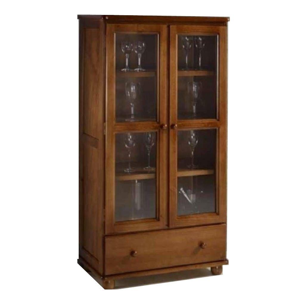 Cristaleira - 2 Portas de Vidro - 1 Gaveta - Woods - Imbuia