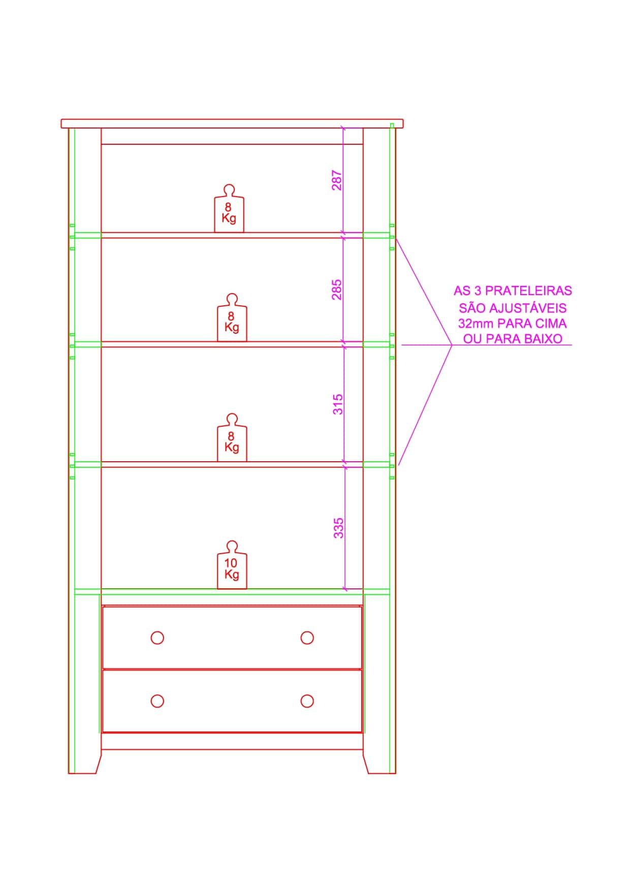 Cristaleira - 2 Portas de Vidro - 2 Gavetas - Cor Imbuia - Branco