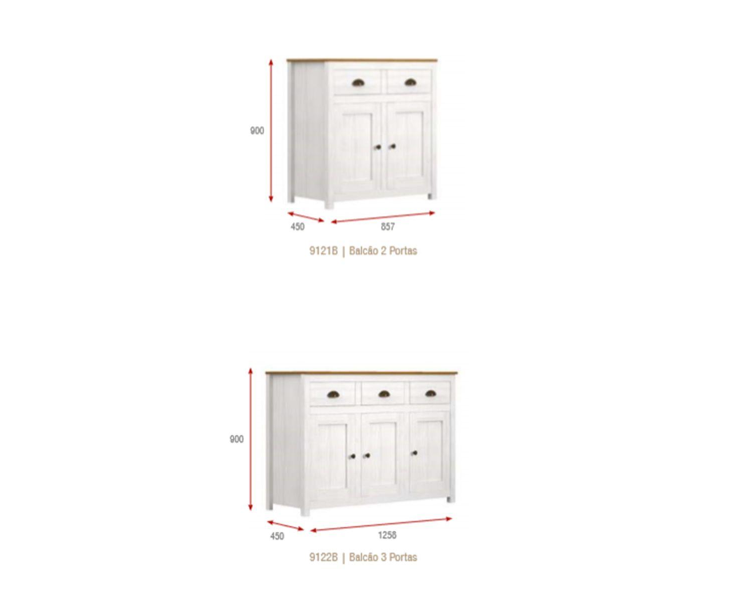 Cristaleira - 6 Portas - 3 Gavetas - Madeira Maciça - Branca