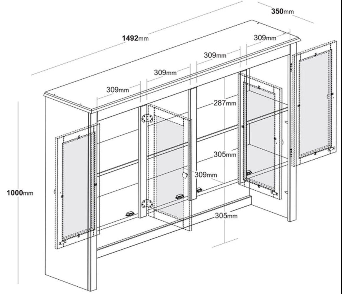 Cristaleira Clássica com 8 Portas - 4 Gavetas - Cor Cinza