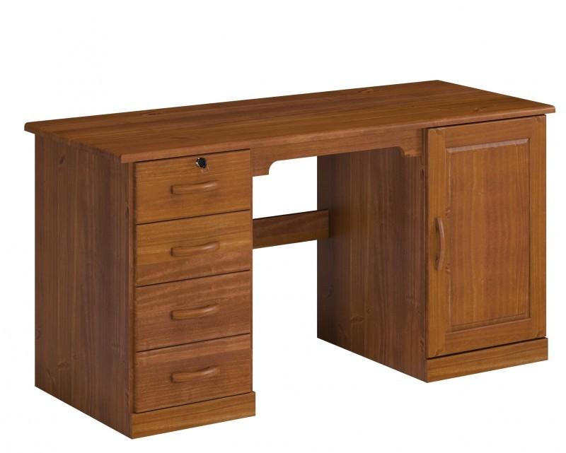 Escrivaninha - 4 Gavetas - Estante - Porta Office - Madeira Maciça - Imbuia