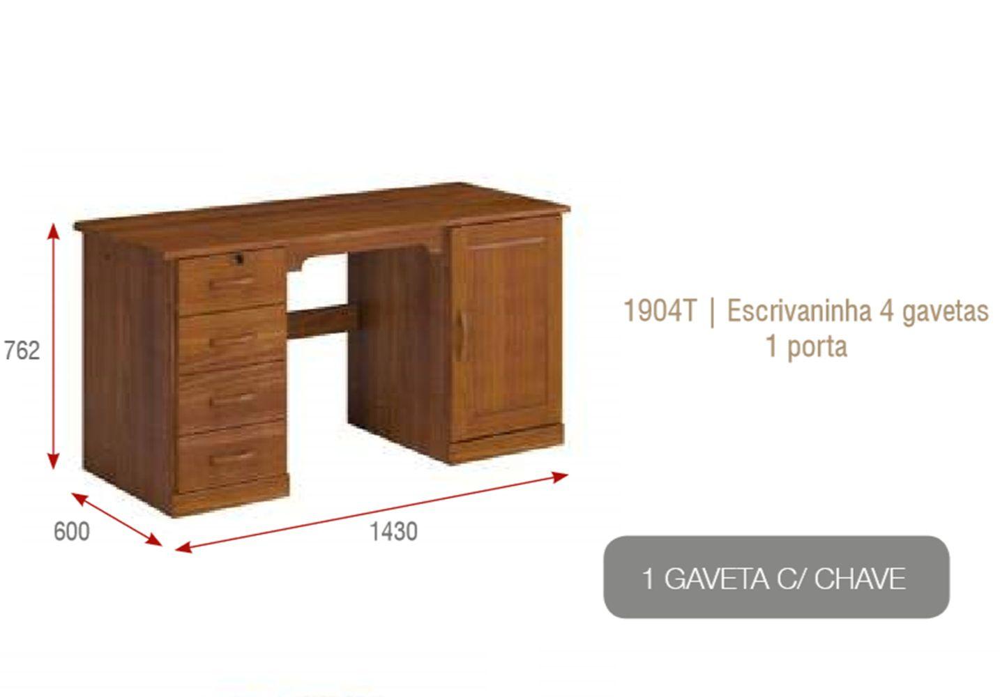 Escrivaninha - 4 Gavetas - Porta Office - Madeira Maciça - Imbuia