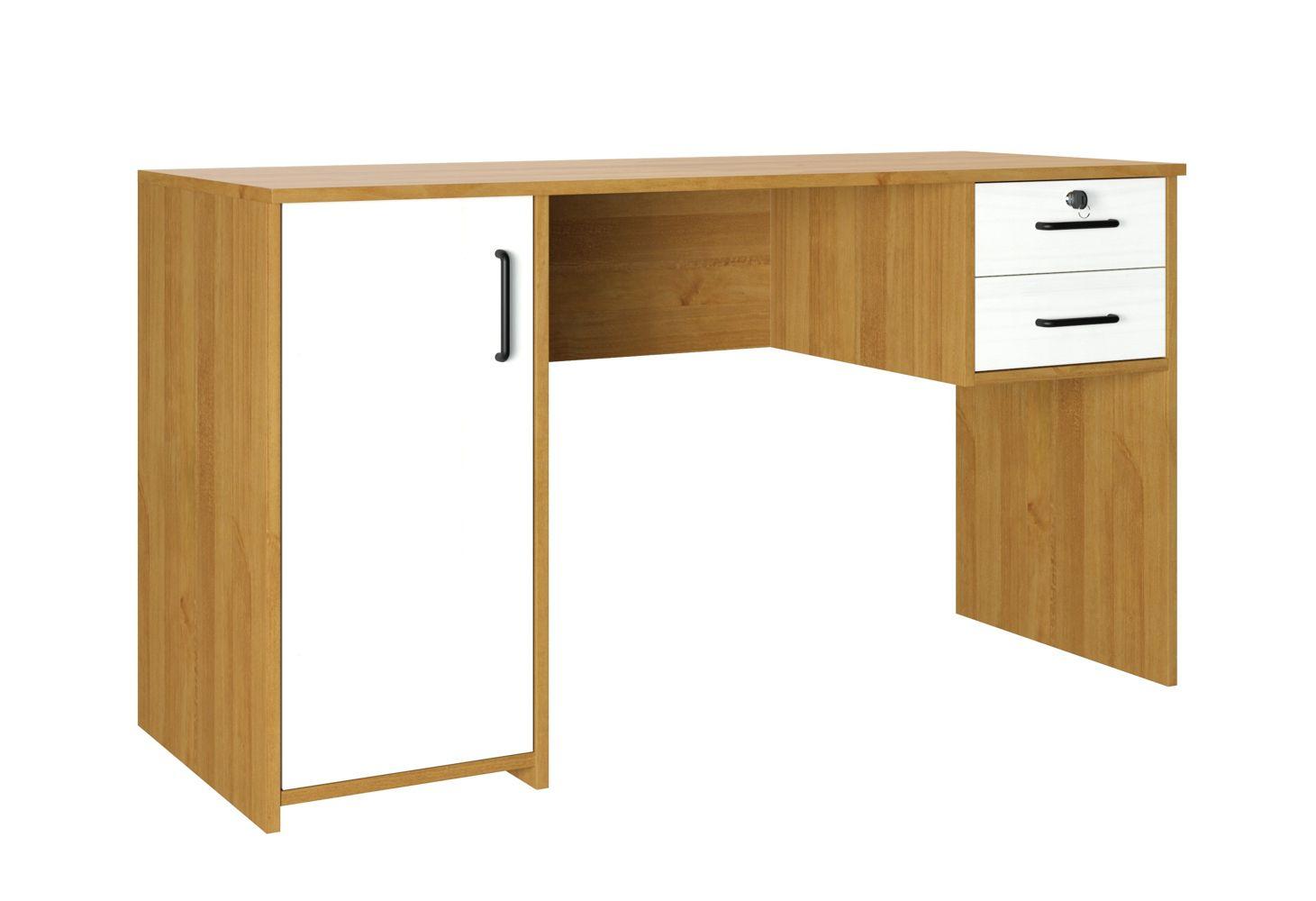 Escrivaninha Office Argos com 1 Porta e 2 Gavetas - Cor Carvalho com Branco