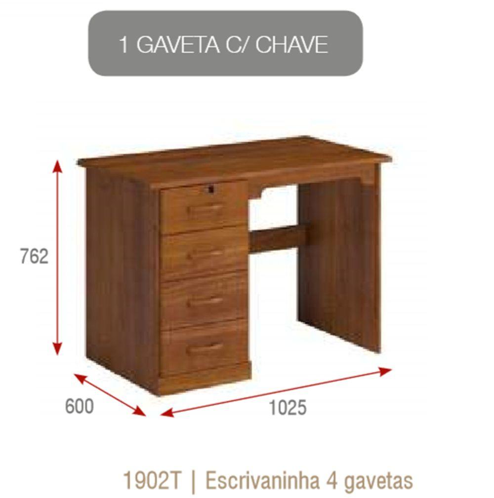 Estação Office com 4 Gavetas - Madeira Maciça - Imbuia