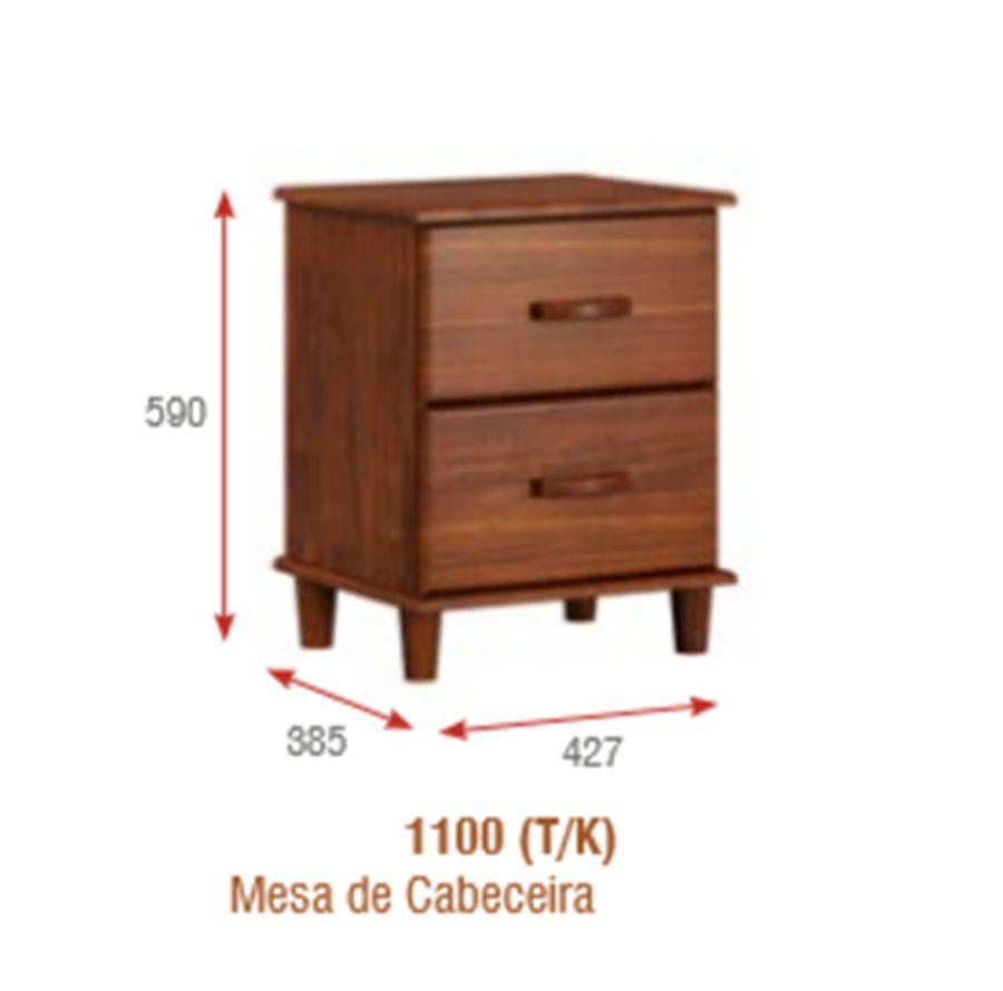 Mesa de Cabeceira Ecco com 2 Gavetas -  Madeira Maciça -  Cor Imbuia