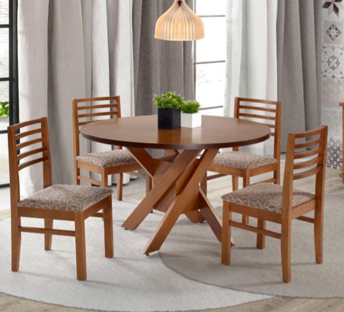 Conjunto Mesa de jantar Bali Redonda (130cm) - 4 Cadeiras - Tampo de Madeira