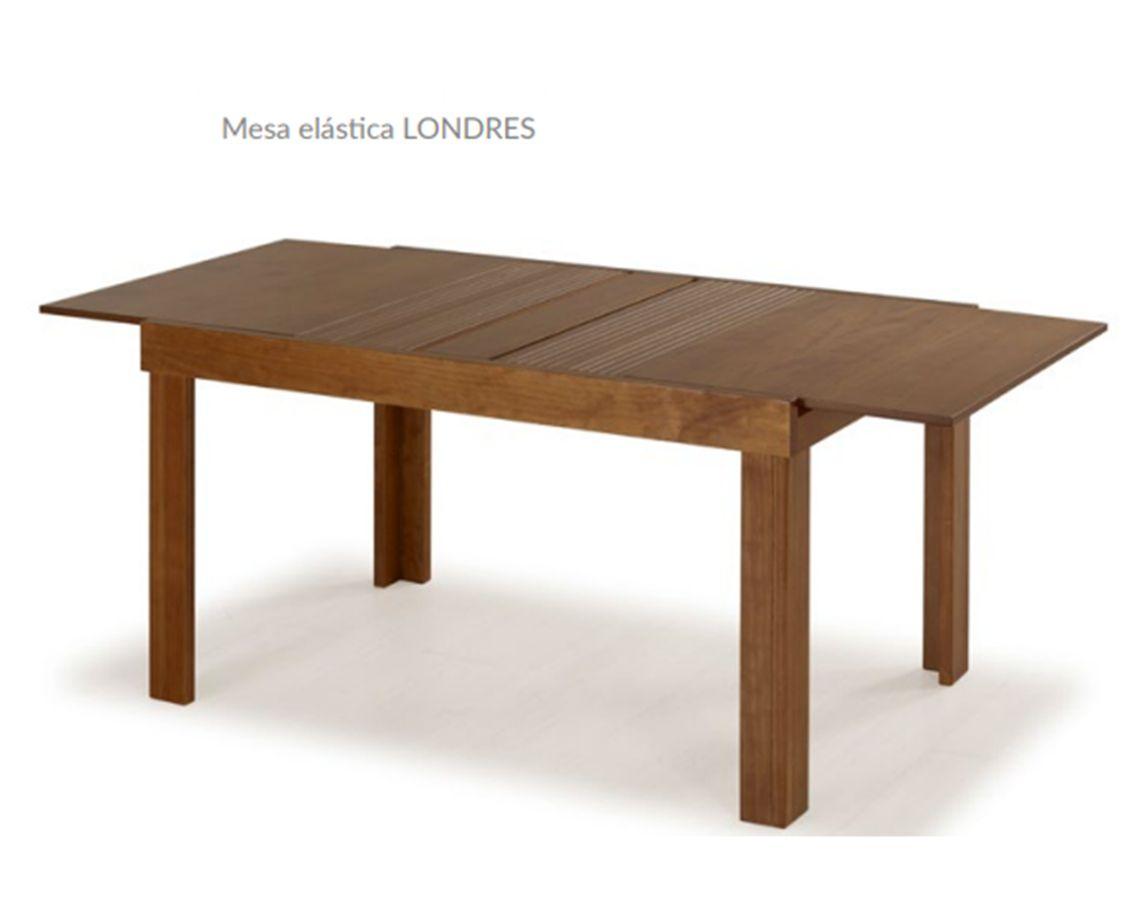 Mesa de Jantar Londres Elástica ( 110 - 170cm) com Tampo de Madeira