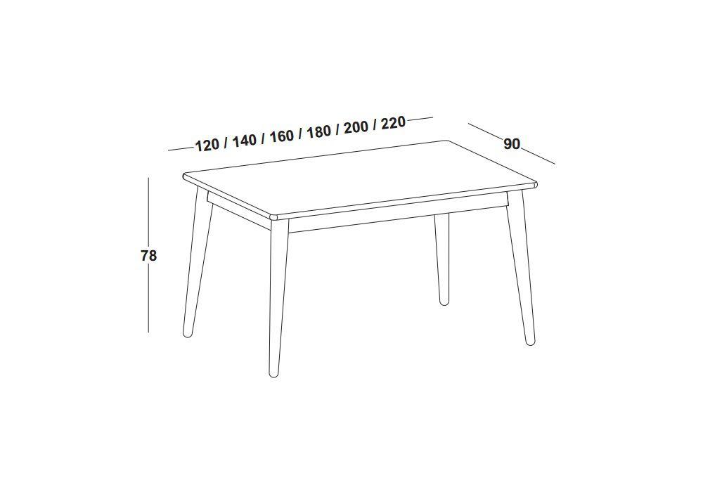 Mesa de Jantar Novita - Tamanho (0,90 x 160cm)