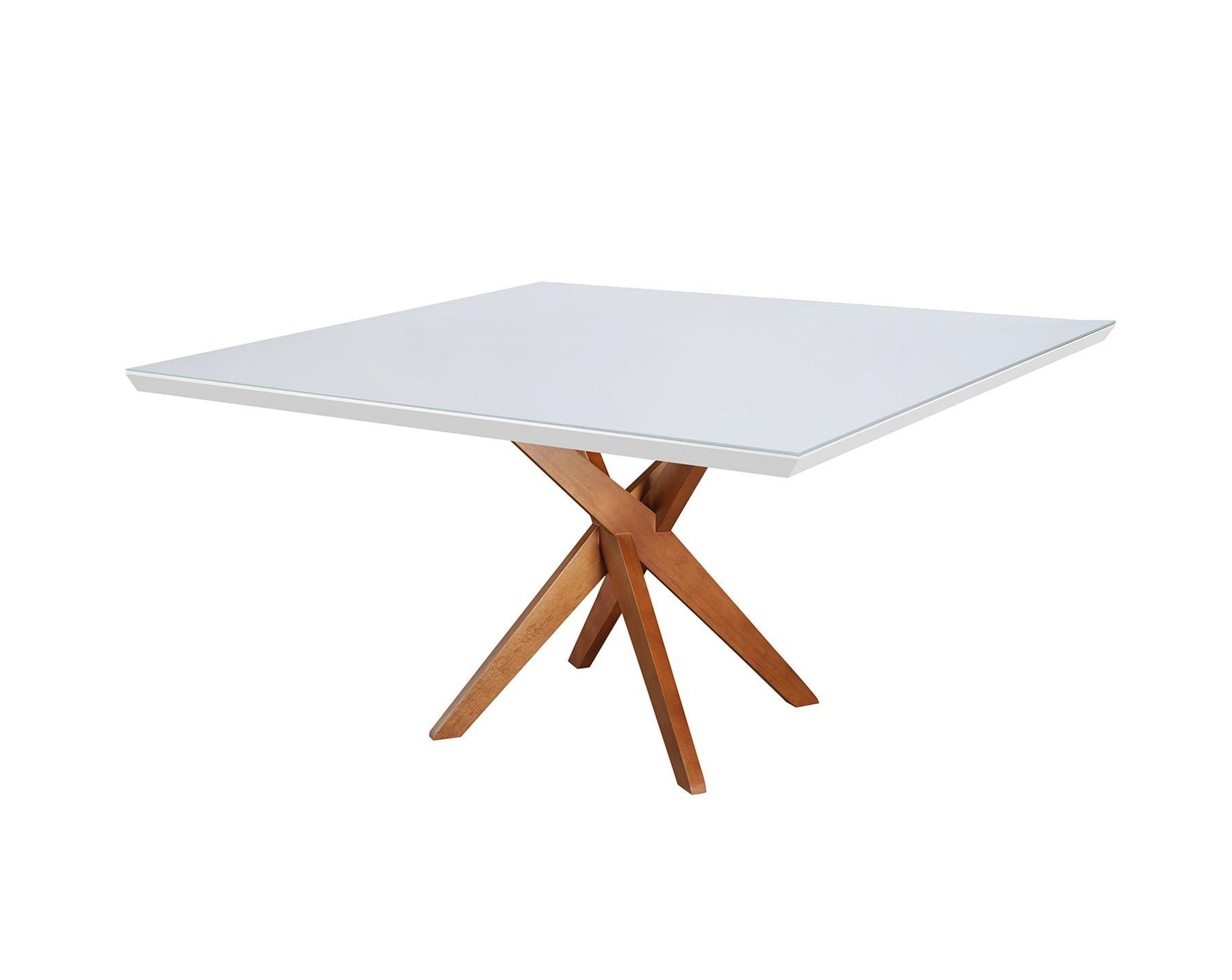 Mesa de Jantar Quadrada X - Tamanho (120 x 120cm ) - Branca