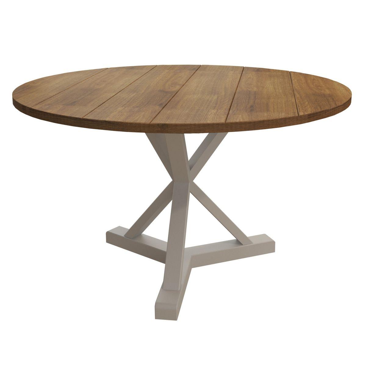 Mesa de Jantar Redonda (120cm) Madeira Maciça, Woods - Branco/Mel