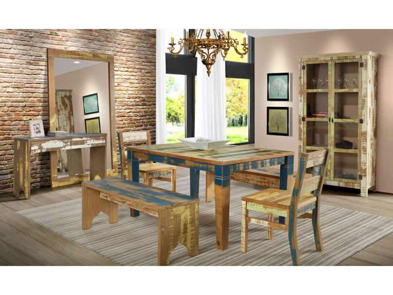 Mesa de Jantar Retangular em Demolição - Tamanho (200cm ) - Madeira Maciça