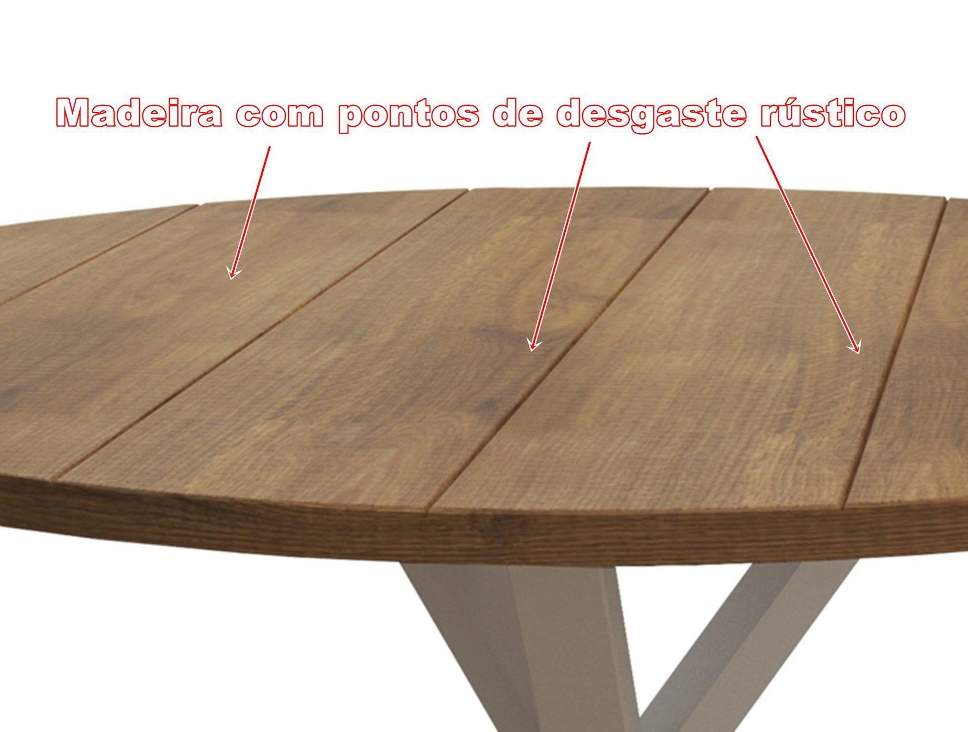 Mesa de Jantar Redonda Tamanho (150cm) em Madeira Maciça, Woods - Branco/Mel