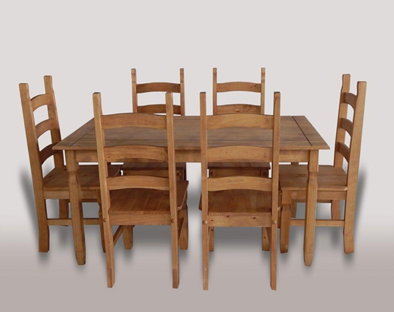 Mesa Rústica, Tamanho (150 X 80cm) Com 6 Cadeiras - Madeira Maciça