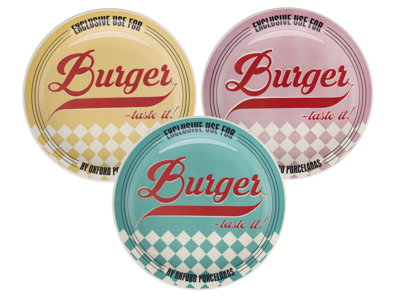 Prato Burger Raso - 26cm de Diamentro - Tematicos dos Anos 50 - Oxford