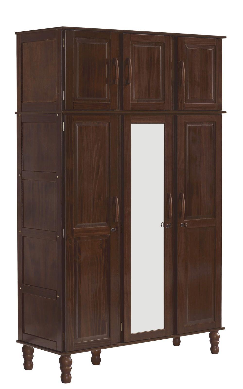Roupeiro Essencial - 6 Portas - 2 Gavetas - Madeira Maciça com Mdf - Castanho