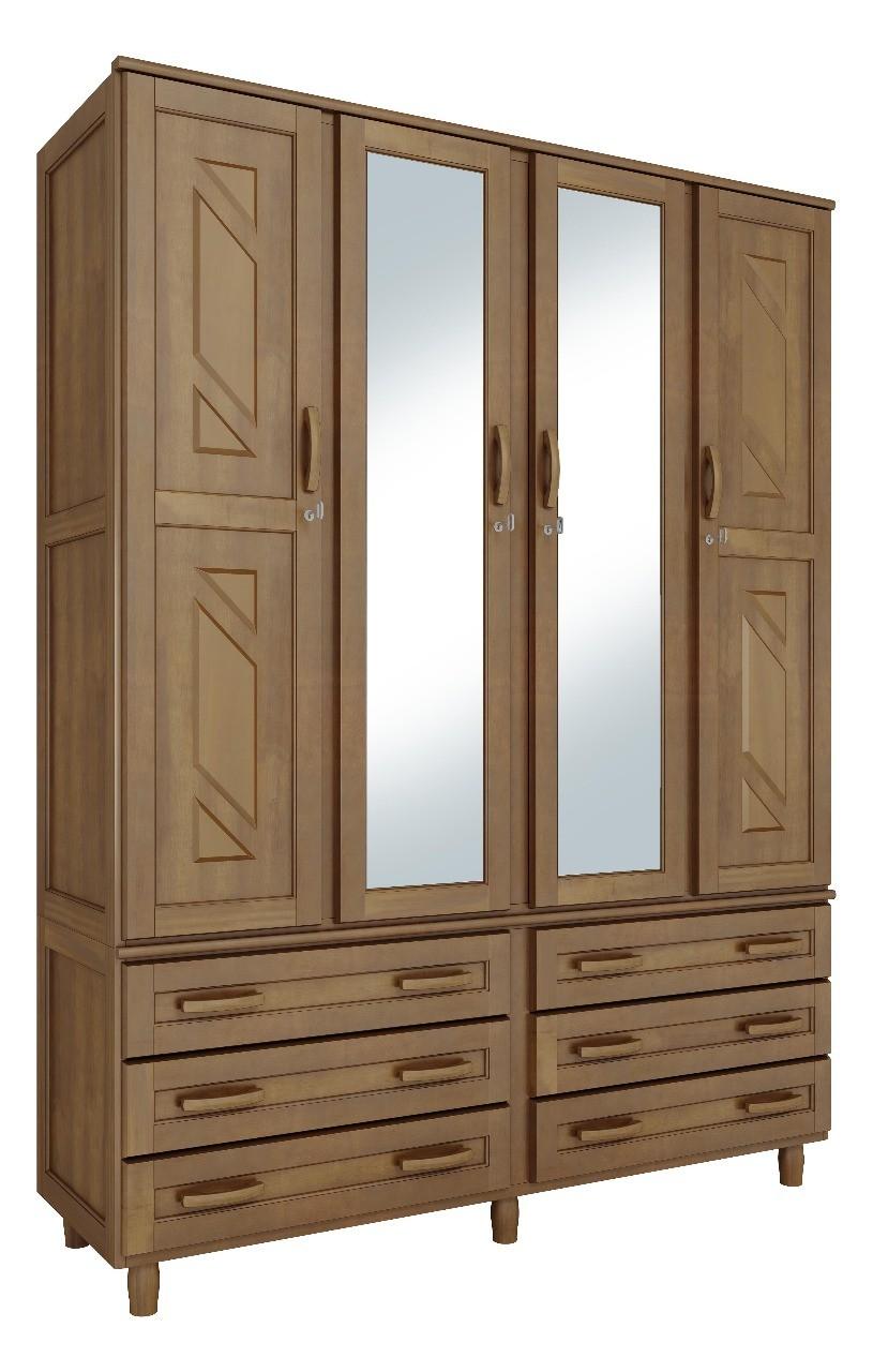 Roupeiro Paris com 4 Portas - Com Maleiro e Espelho - 6 Gavetas