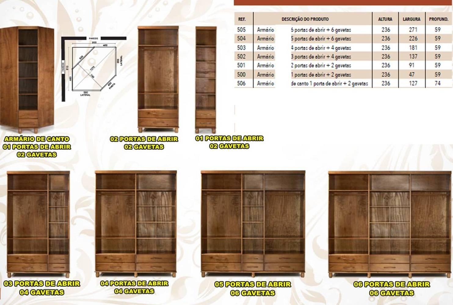 Roupeiro Safari - 05 Portas - 06 Gavetas - Woods - Cor Imbuia