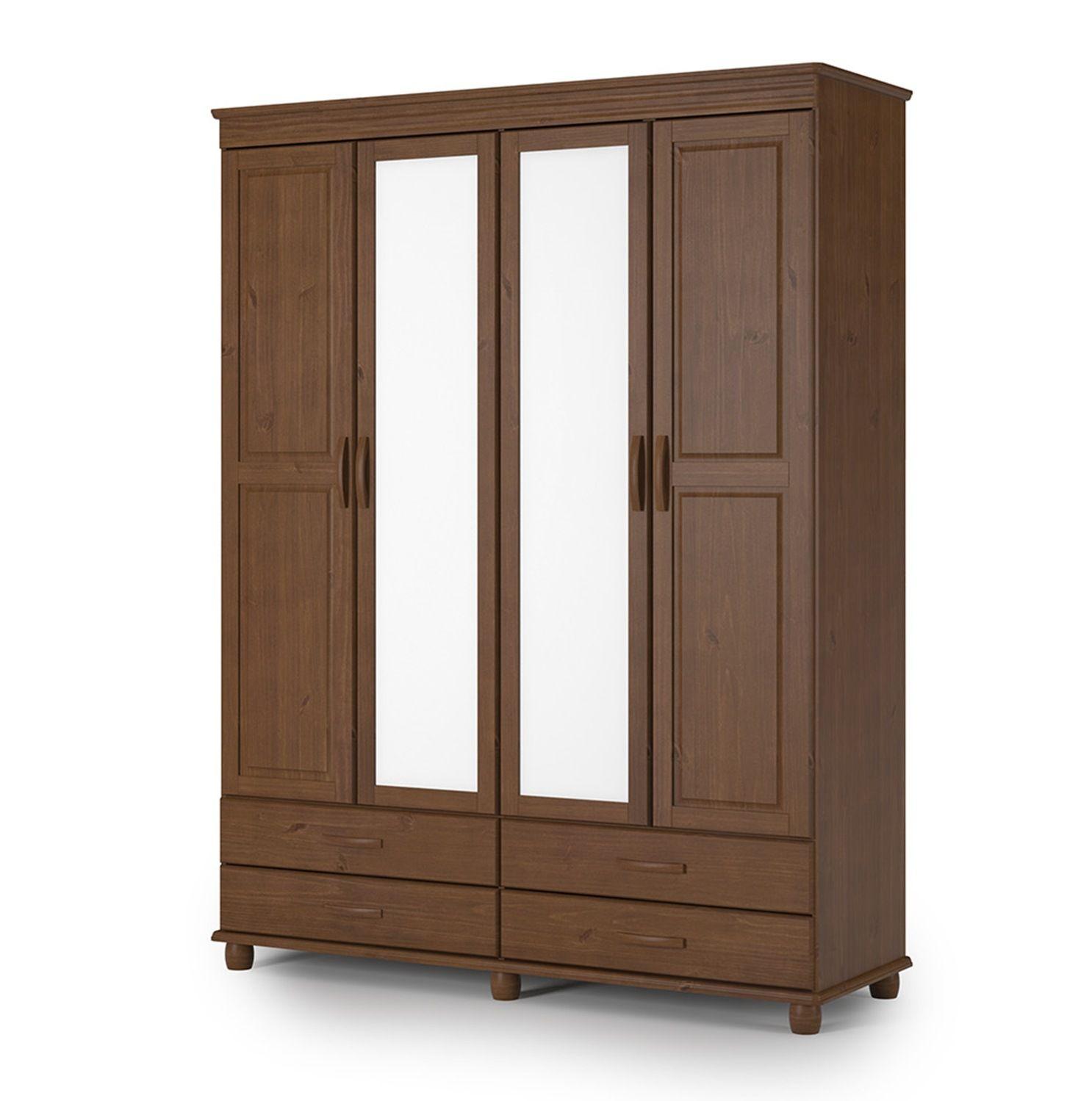 Roupeiro de Casal Sevilha com 4 Portas com Espelho - 4 Gavetas - Cor Capucino