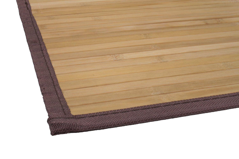Tapete de Bambu - Borda de Tecido - Tamanho (60cm X 120cm) - Cor Carbonizado