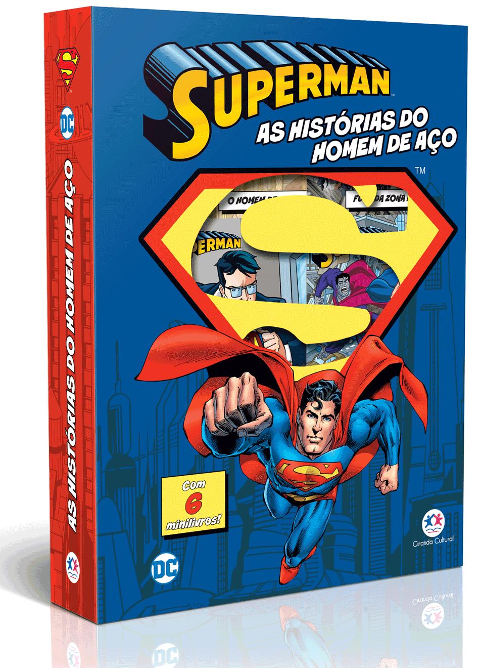 MINIBIBLIOTECA BOX SUPER HOMEM - AS HISTÓRIAS DO HOMEM DE AÇO