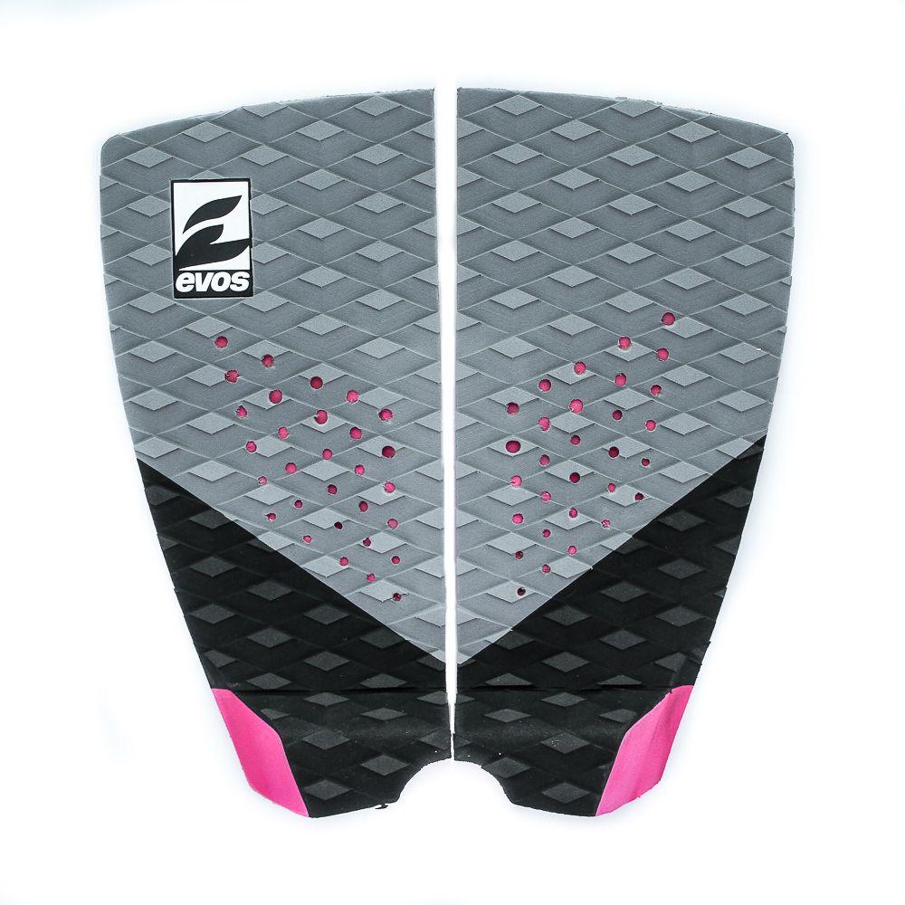 Deck Pad Antiderrapante Evos para Prancha de Surfe Dark Series Cinza e Rosa