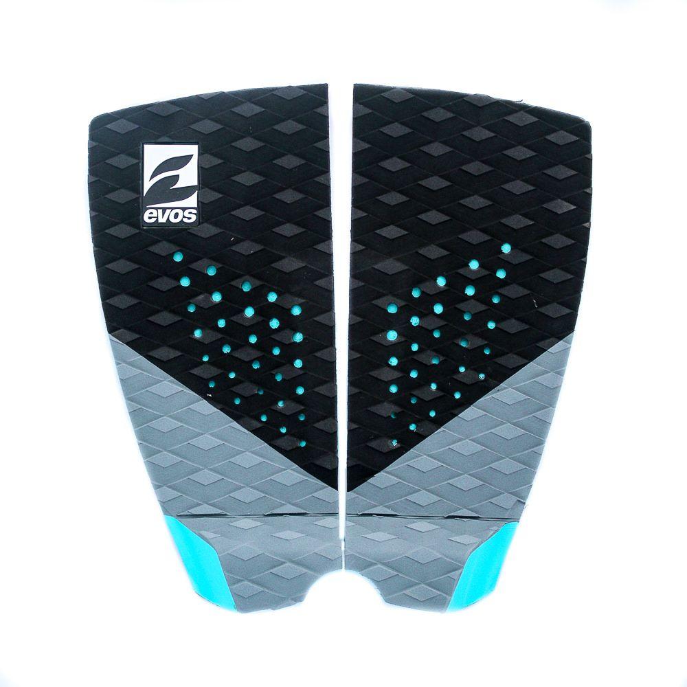 Deck Pad Antiderrapante Evos para Prancha de Surfe Dark Series Preto e Azul Turquesa