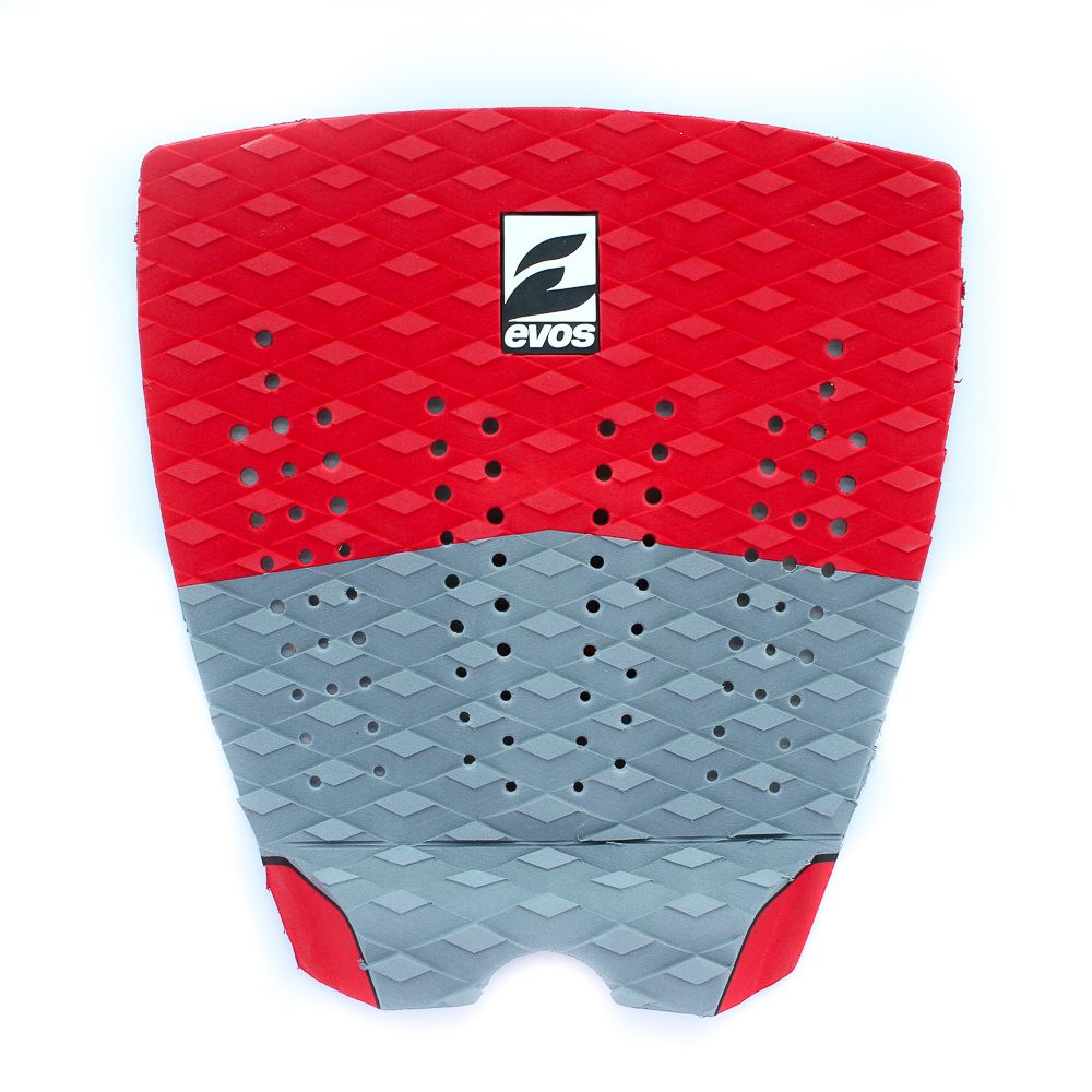 Deck Pad Antiderrapante Evos para Prancha de Surfe Solid Series Vermelho e Cinza