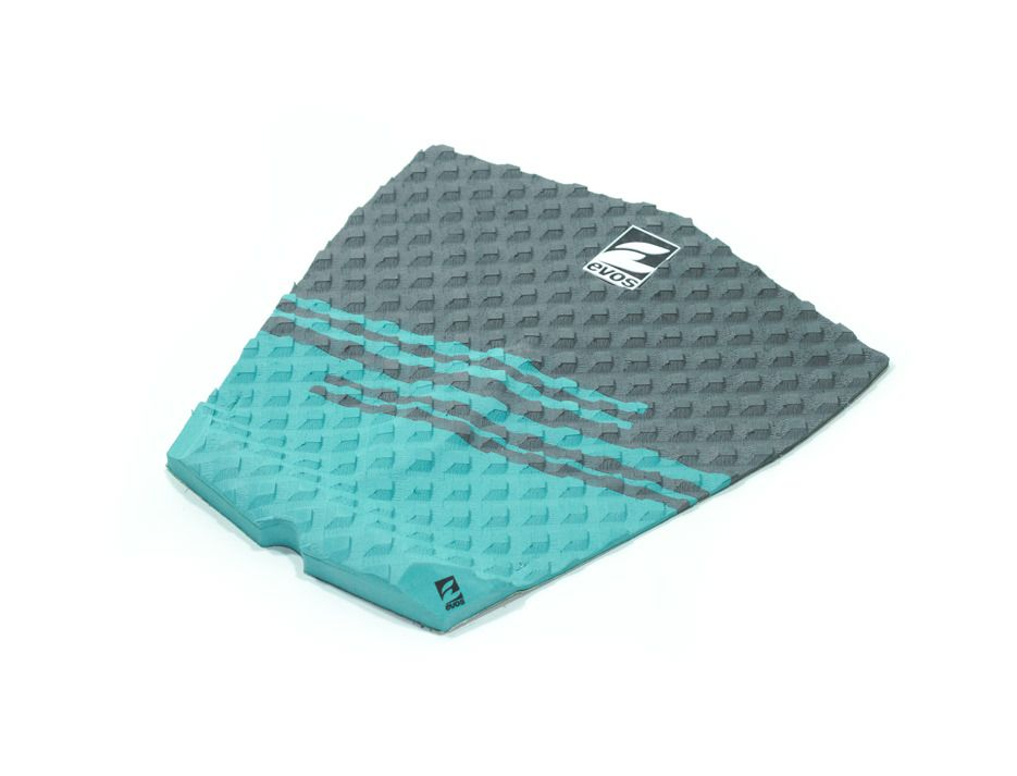 Deck Pad Antiderrapante Evos para Prancha de Surfe Stripes II Cinza e Verde Água