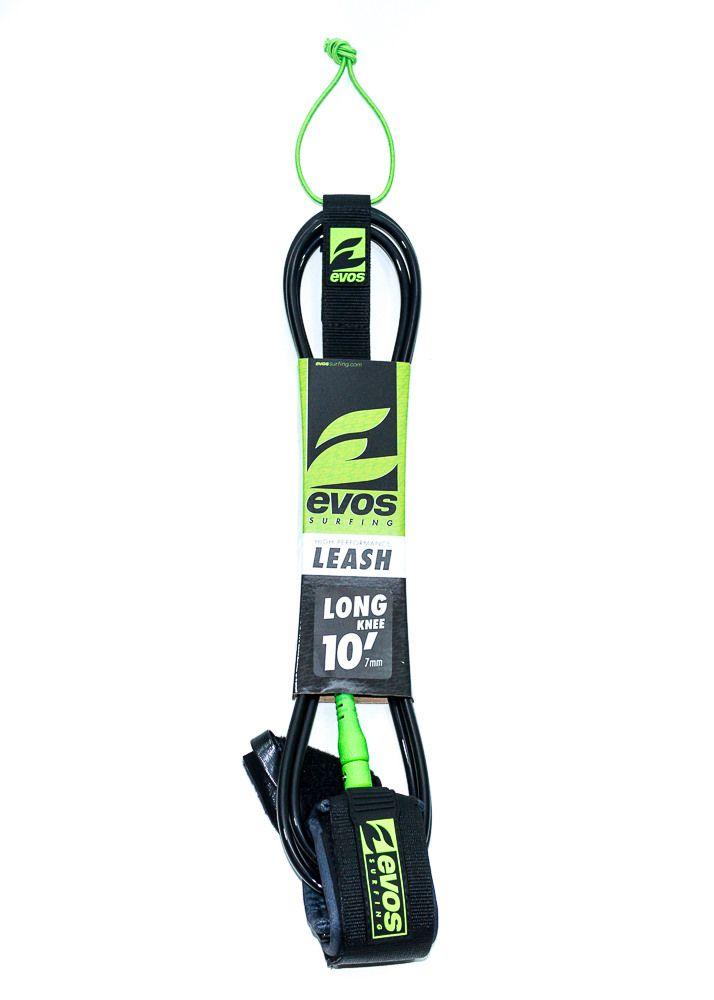 Leash Evos para Prancha de Surf Long 10 pés x 7mm para Joelho Preto e Verde
