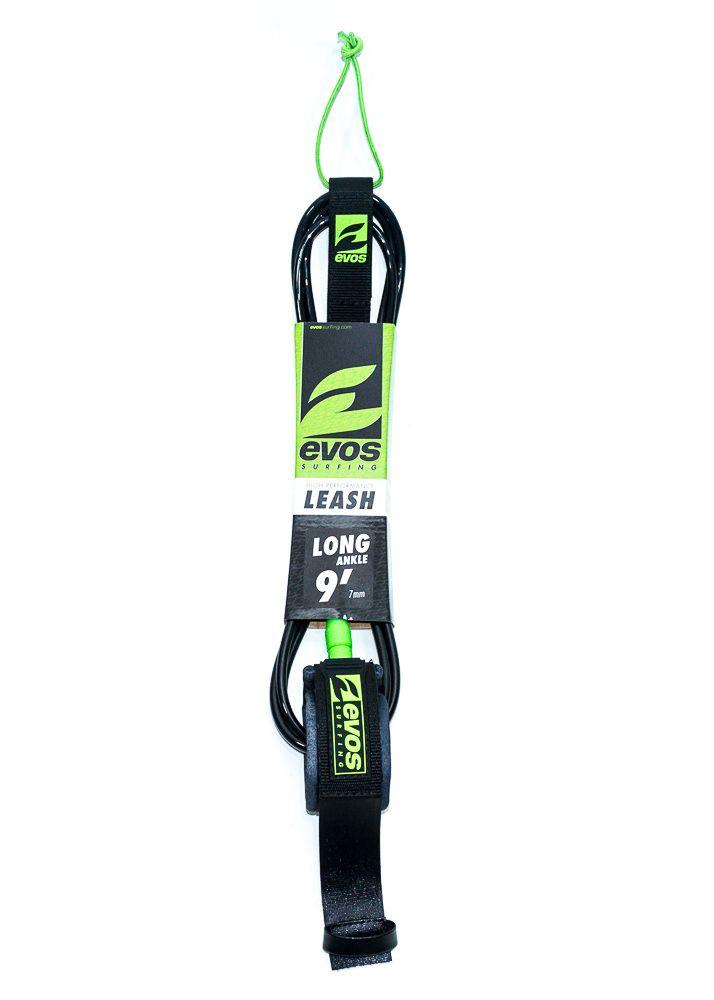 Leash Evos para Prancha de Surf Long 9 pés x 7mm para Tornozelo Preto e Verde