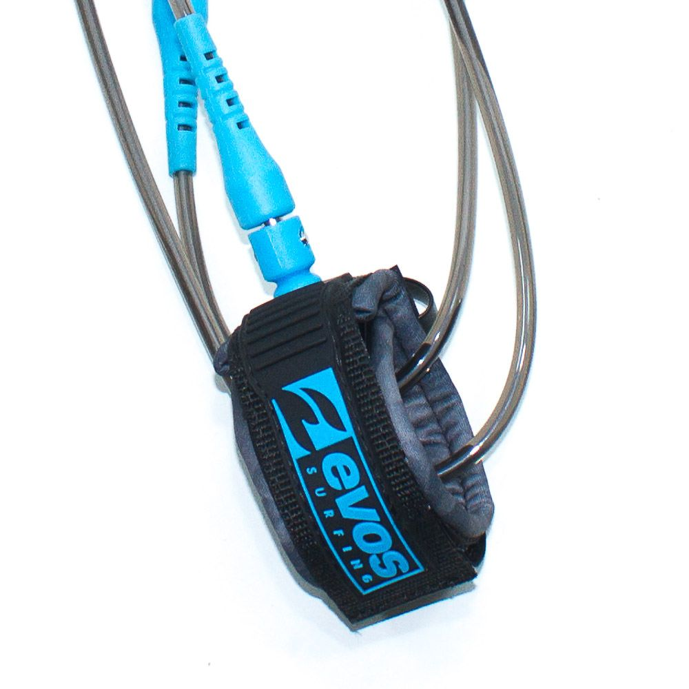 Leash Evos para Prancha de Surf Short 5 pés x 6mm Preto e Azul