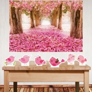 Kit decoração de festas Jardim Encantado com painel e displays de mesa