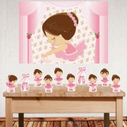 Kit festa Bailarina com painel e displays de mesa