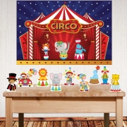 Kit festa Circo com displays de mesa e painel poli banner