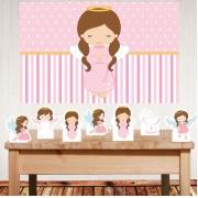 Kit festa decoração Batizado Menina com painel e displays de mesa
