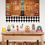 Kit festa do Boteco com displays de mesa e painel poli banner