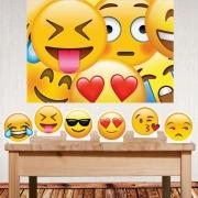 Kit festa Emoji com painel decorativo e displays de mesa