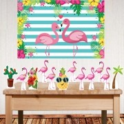 Kit festa Flamingo com displays de mesa e painel poli banner