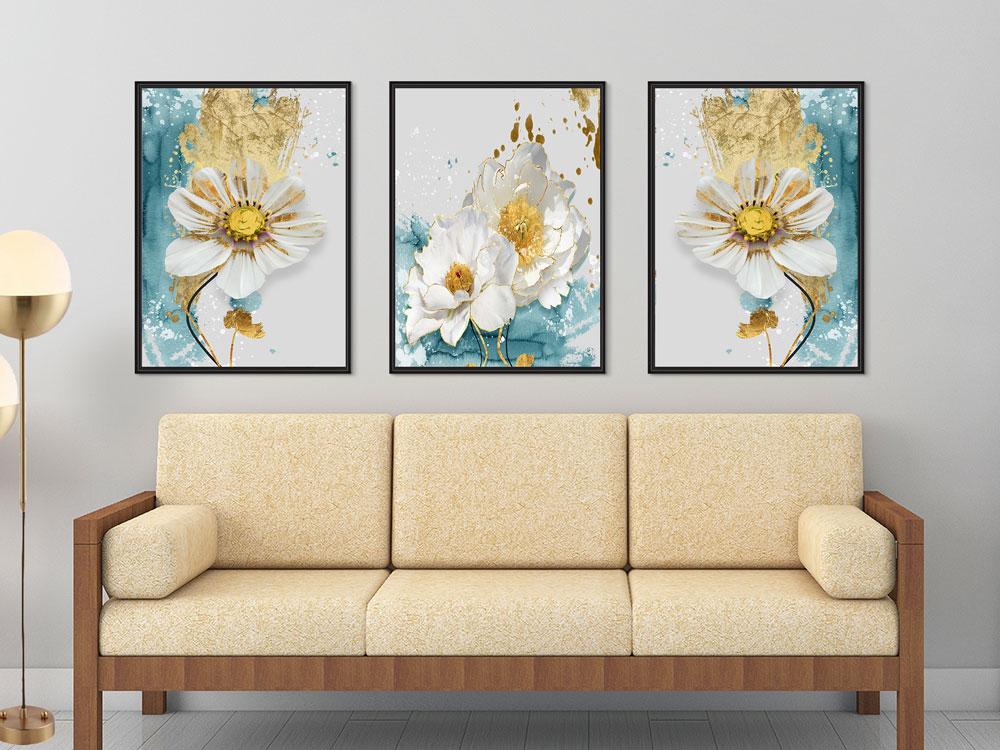 3 Quadros Com Moldura Floral Margaridas Sala Quarto Ambientes