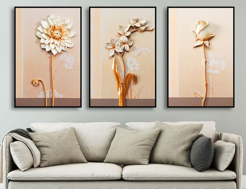 3 Quadros Decoração Sala Quarto Floral Flores Branca , Dourado e Rosê