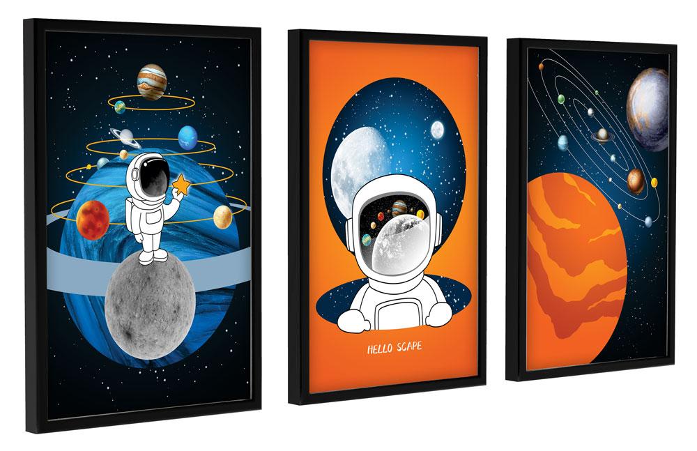 Kit 3 Quadros Decorativos com Moldura quarto Infantil Astronauta Kids